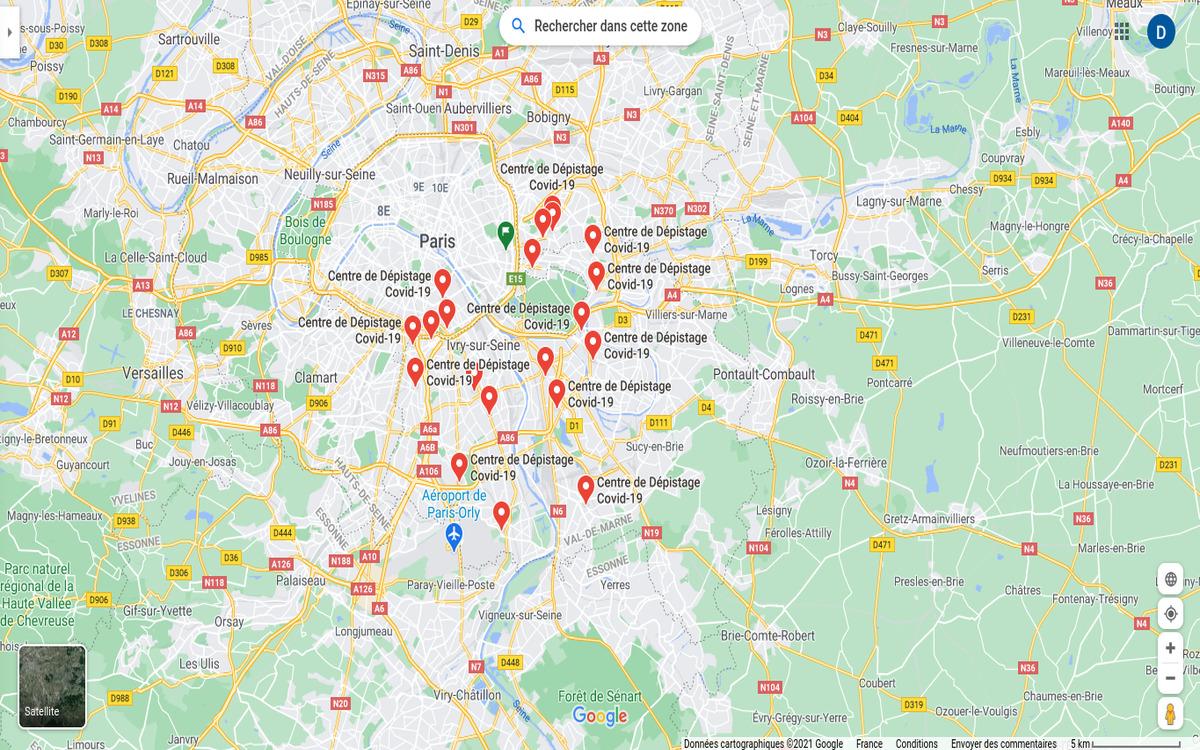 Les centres de dépistage au coronavirus indiqués sur Google Maps