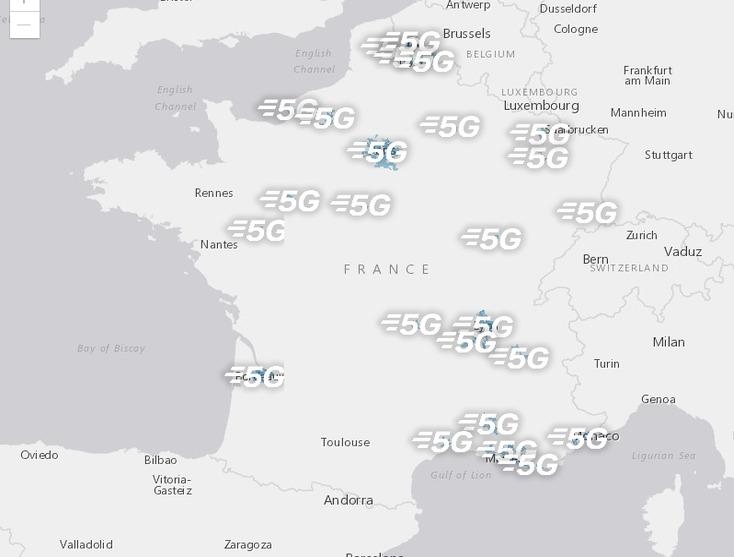 Carte de couverture 5G de Bouygues
