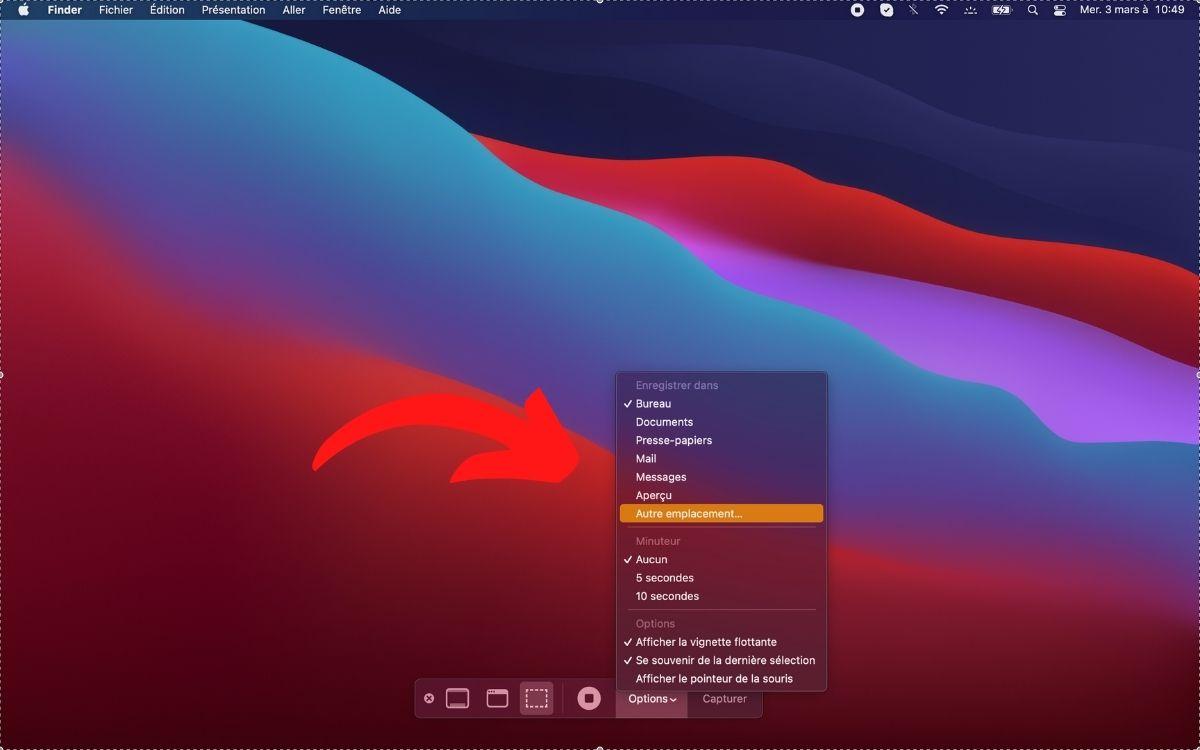 Changer emplacement capture d'écran Mac. Image Papergeek