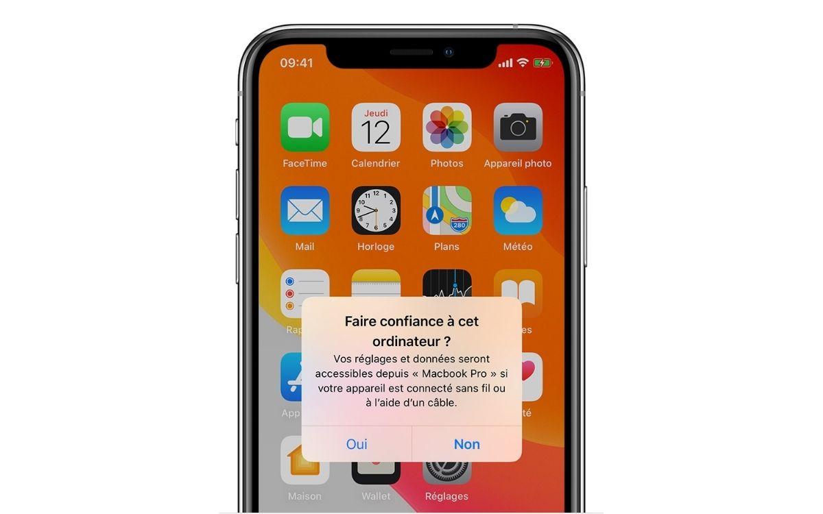 Faire confiance à cet ordinateur iPhone macOS
