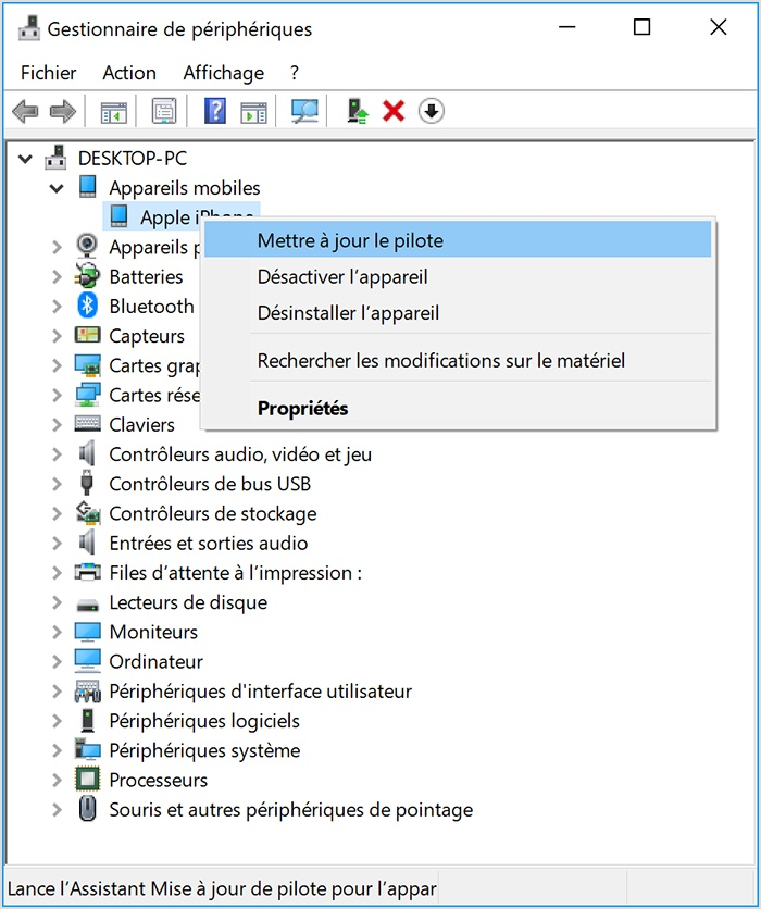 Windows 10 iPhone non reconnu drivers