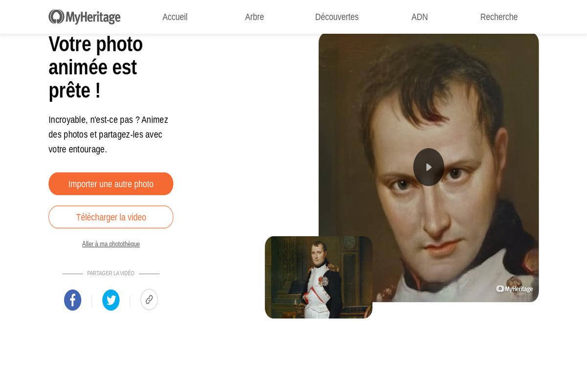 Napoléon animé grâce à l'outil Deep Nostalgia