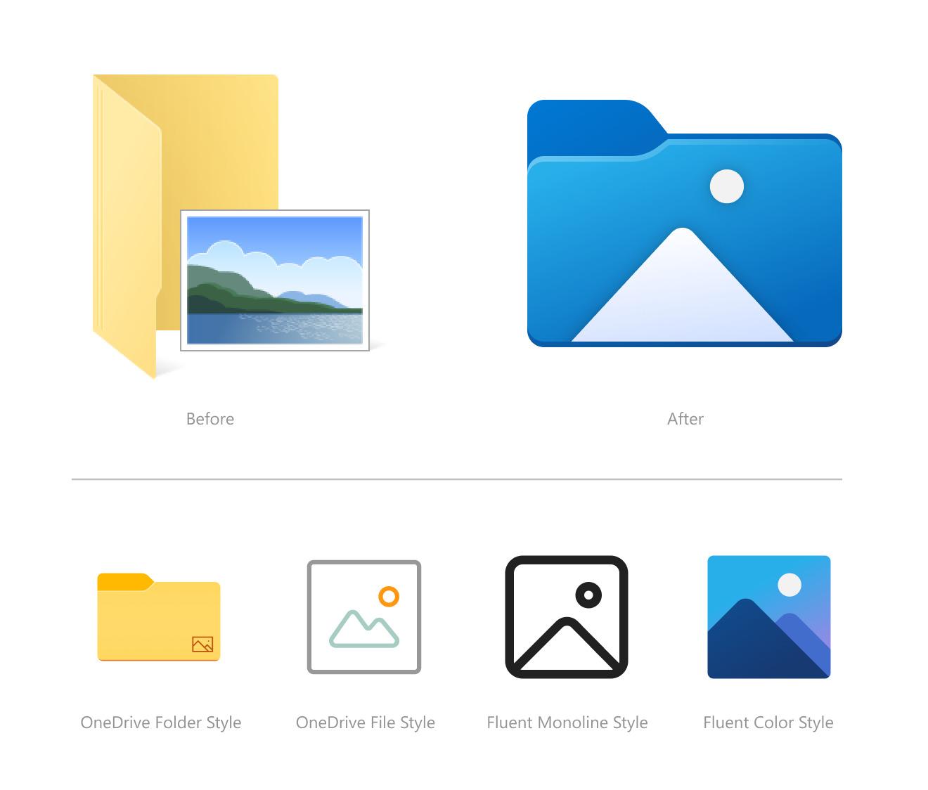 Icônes rénovés dans Windows 10