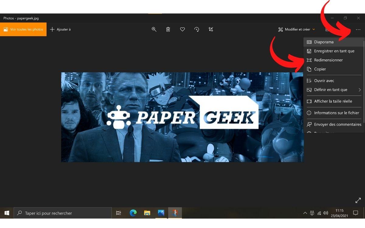 Redimensionner image Windows