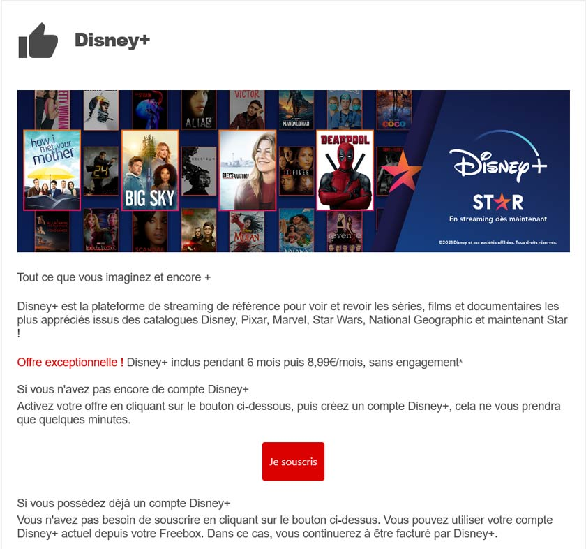 Disney+ gratuit : mail