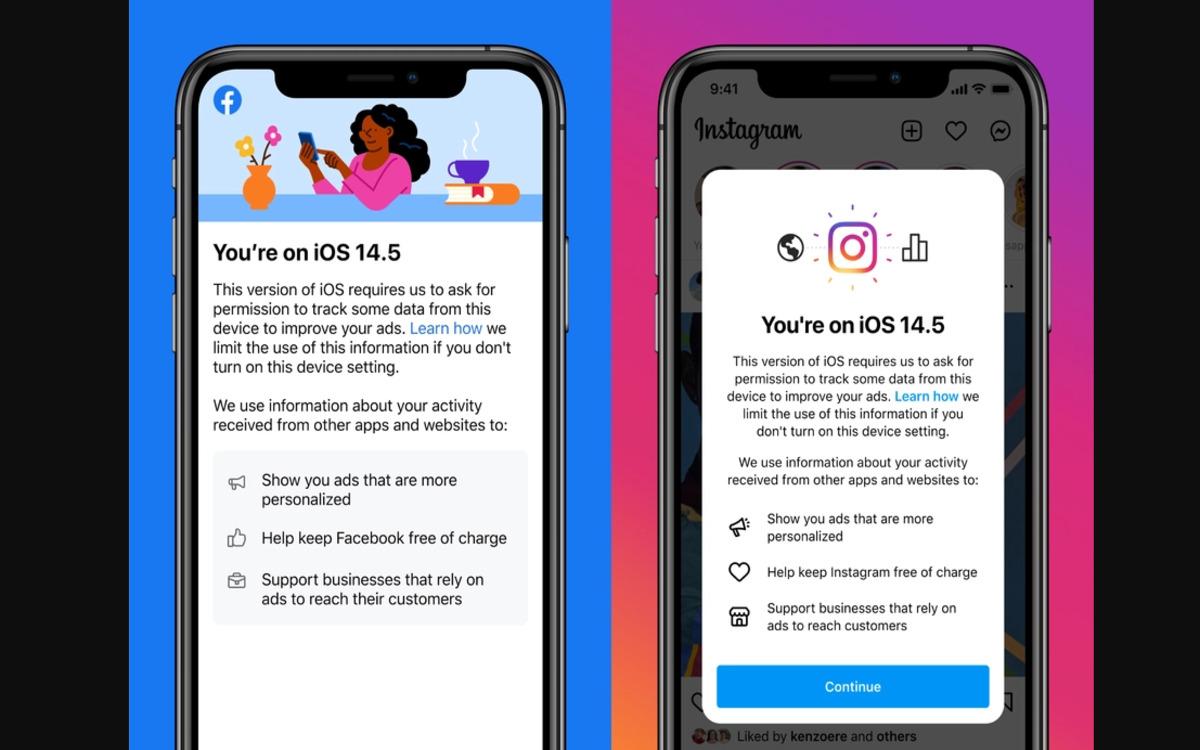 Facebook et Instagram iOS 14.5