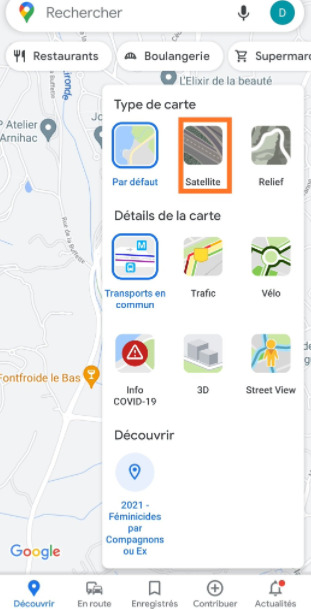 Google Maps : vue satellite sur iOS