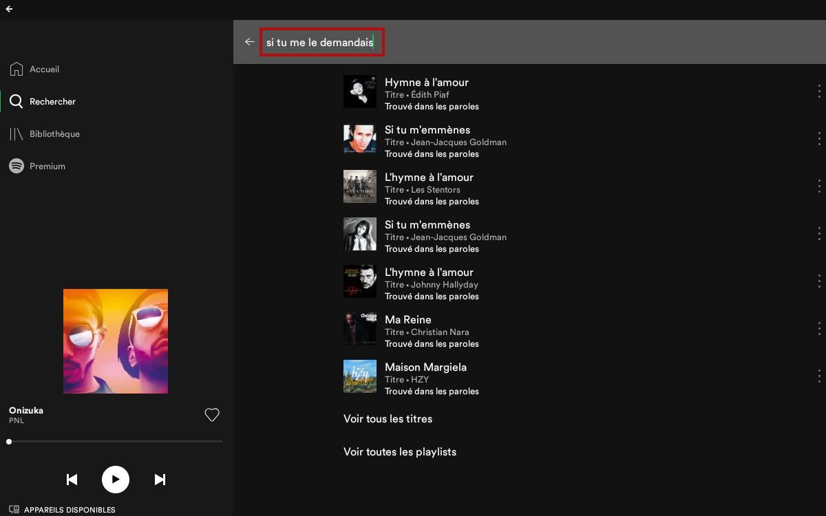 Spotify : retrouver un morceau avec les paroles