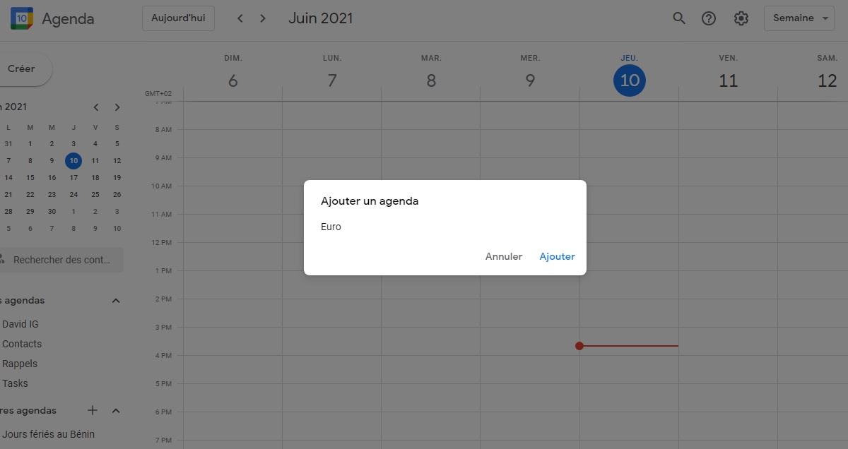 Ajouter le programme Euro 2021 sur Google Agenda
