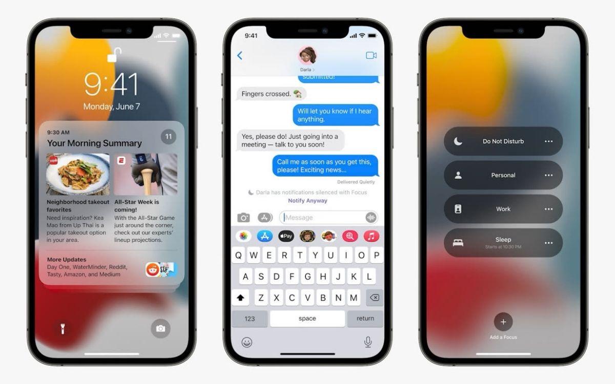 iOS 15 Focus notifications