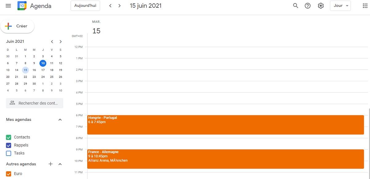 Interface calendrier Euro 2021