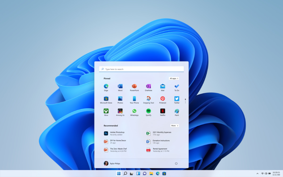 Windows 11 : menu Démarrer