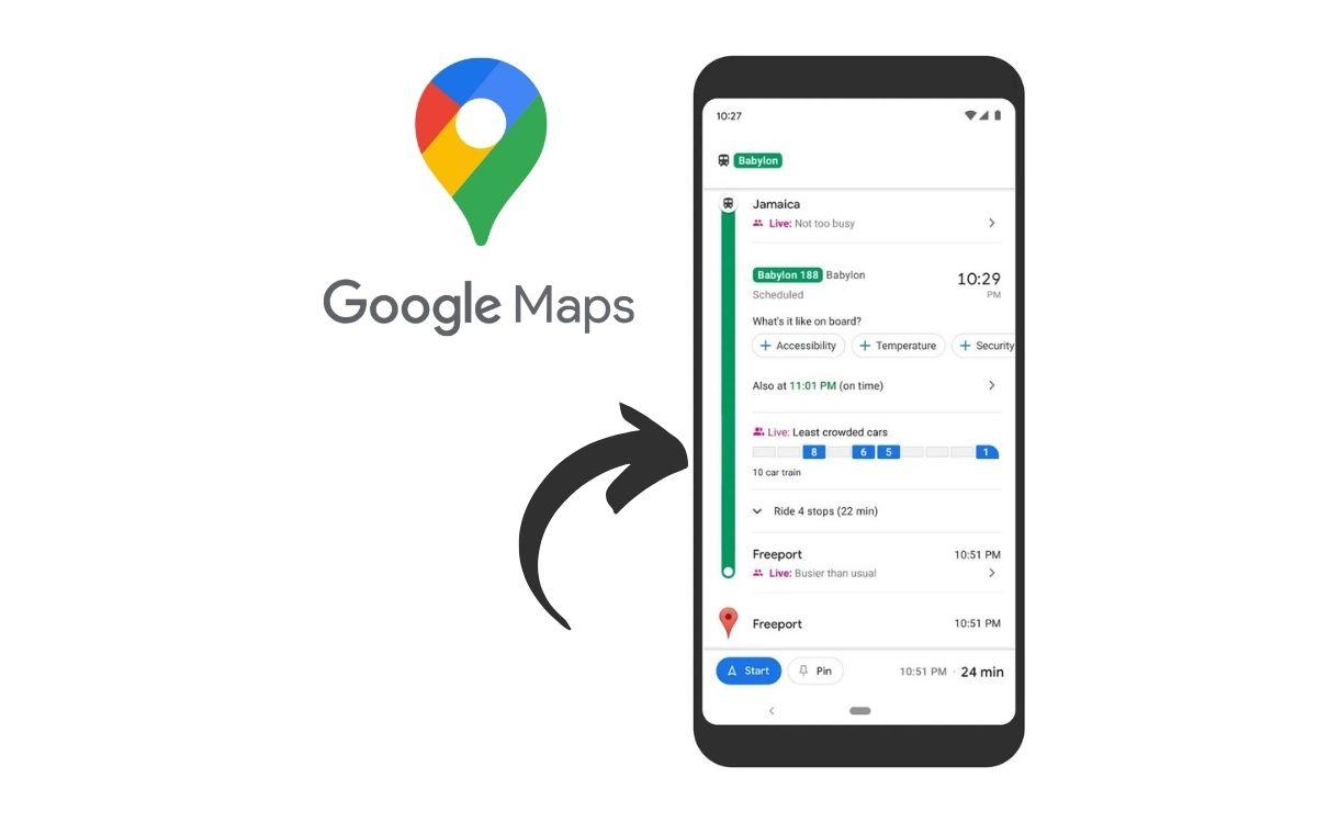 Google Maps affluence transports