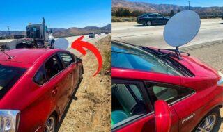 Starlink : il fixe une antenne sur le capot de sa voiture et se fait arrêter