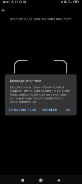 Scanner QR Code dans TousAntiCovid