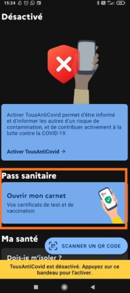 Ajouter QR code dans TousAntiCovid