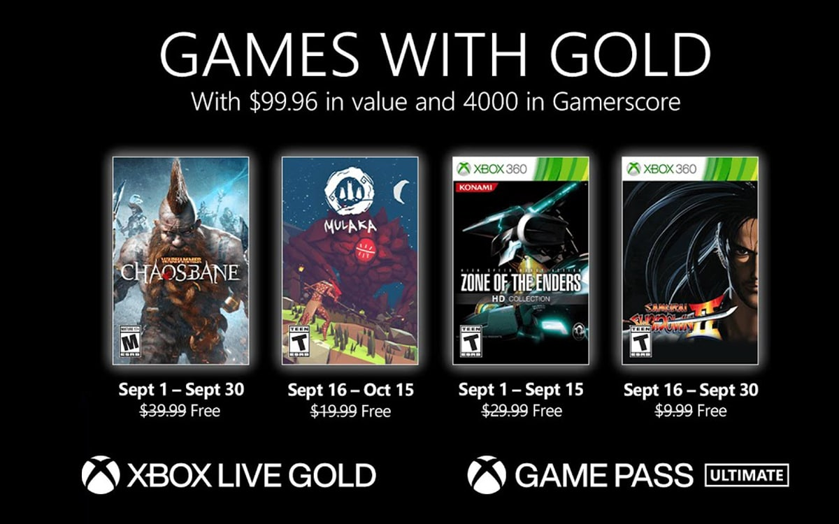 Games with Gold septembre