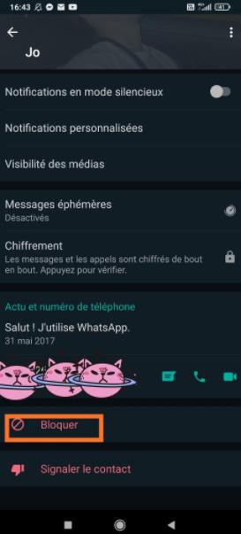 Bloquer quelqu'un sur WhatsApp