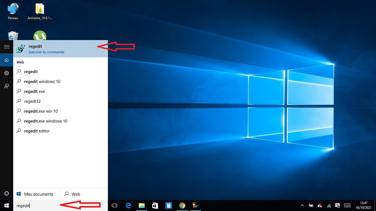Ouvrir la base de registre Windows