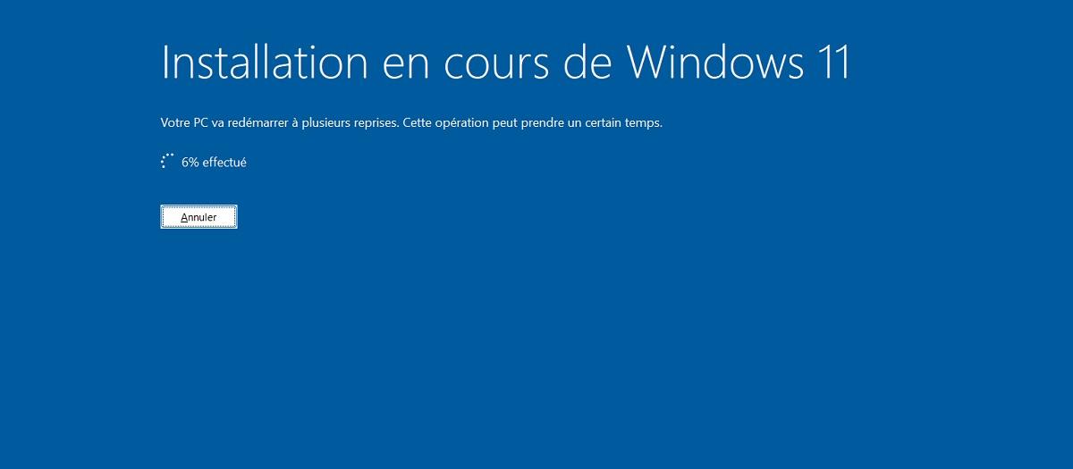 Installation de Windows 11 en cours